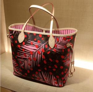 Louis-Vuitton-Palm-Sugar-PinCoquelicot-Monogram-Palm-Dots-Neverfull-Bag-300x299
