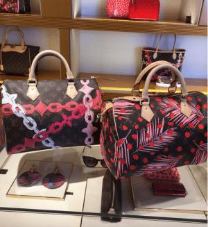 Louis-Vuitton-Palm-Sugar-PinCoquelicot-Monogram-Palm-Dots-Speedy-30-Bag-300x327