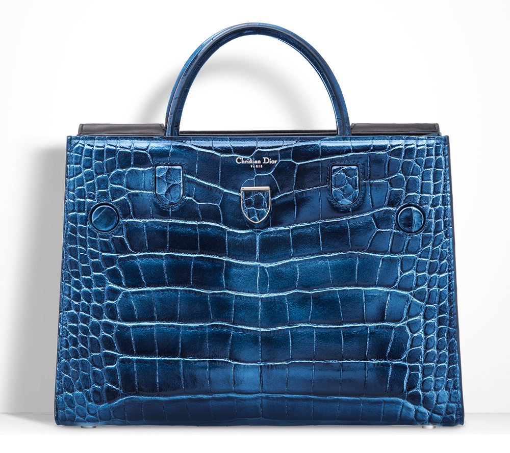 Christian-Dior-Diorever-Alligatore-Tote-Blue