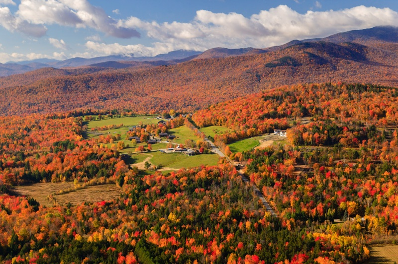 Aerial view of fall foliage, Stowe, Vermont, USA